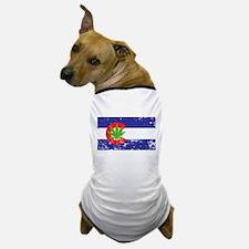 Colorado State Flag Marijuana Pot Weed Leaf Dog T-