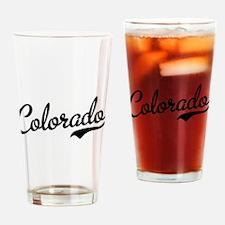 Colorado Script Black Drinking Glass