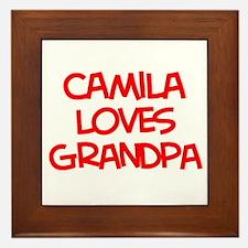 Camila Loves Grandpa Framed Tile