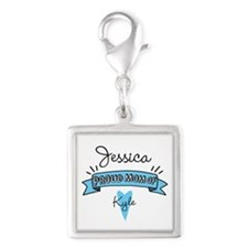 Proud Mom Of Son Silver Square Charm