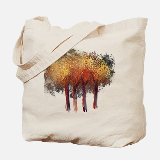 Red Trees Glowing Yellow Tote Bag