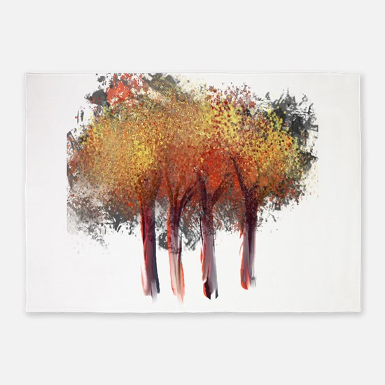 Red Trees Glowing Yellow 5'x7'Area Rug