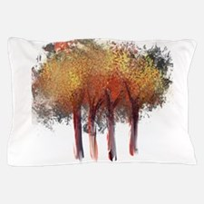 Red Trees Glowing Yellow Pillow Case