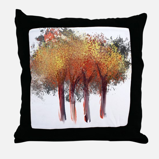 Red Trees Glowing Yellow Throw Pillow
