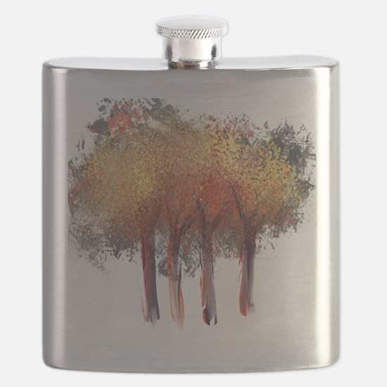Red Trees Glowing Yellow Flask