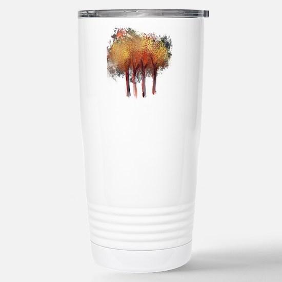 Red Trees Glowing Yello Stainless Steel Travel Mug