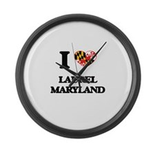I love Laurel Maryland Large Wall Clock
