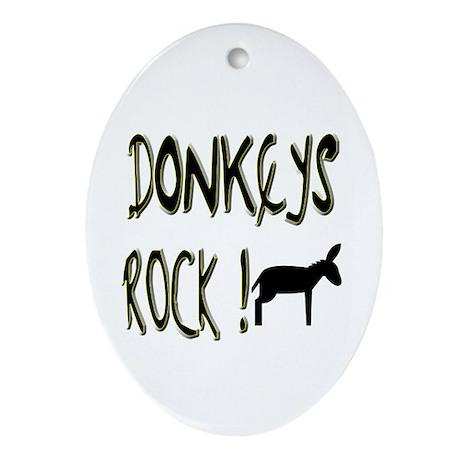 Donkeys Rock ! Oval Ornament