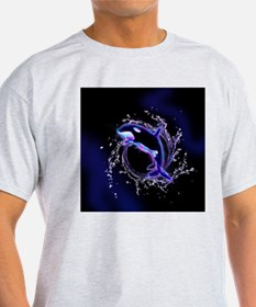 Orca jumping by a circle made og water T-Shirt