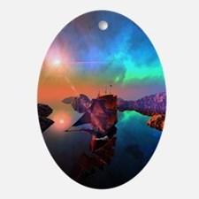Ship in the sunset Ornament (Oval)