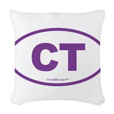 Connecticut CT Euro Oval PURPL Woven Throw Pillow