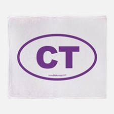 Connecticut CT Euro Oval PURPLE Throw Blanket