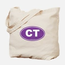Connecticut CT Euro Oval PURPLE Tote Bag