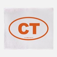 Connecticut CT Euro Oval ORAGNE Throw Blanket