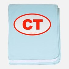 Connecticut CT Euro Oval ORAGNE baby blanket