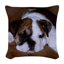 Bull Dog Puppy Woven Throw Pillow