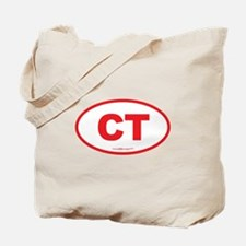 Connecticut CT Euro Oval RED Tote Bag