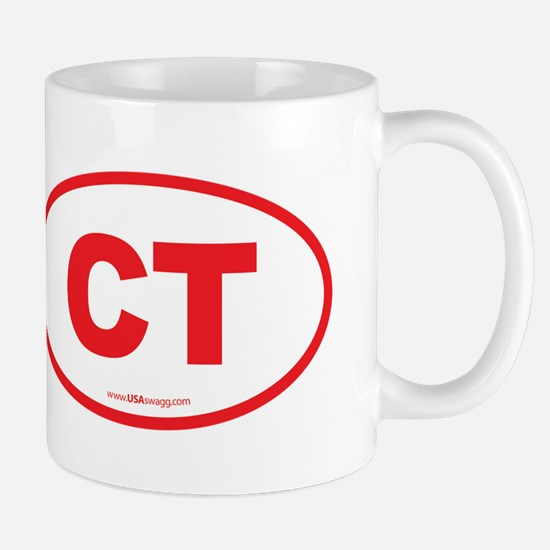 Connecticut CT Euro Oval RED Mug