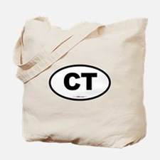 Connecticut CT Euro Oval BLACK Tote Bag