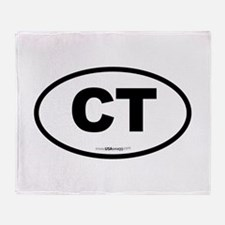 Connecticut CT Euro Oval BLACK Throw Blanket