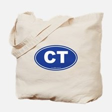 Connecticut CT Euro Oval BLUE Tote Bag