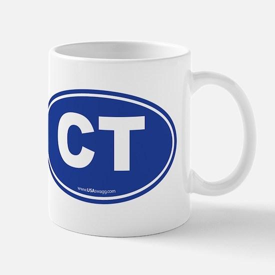 Connecticut CT Euro Oval BLUE Mug