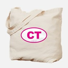 Connecticut CT Euro Oval PINK Tote Bag