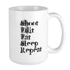 Shoot Edit Eat Sleep Repeat Grunge MugMugs
