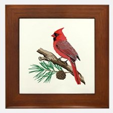 CARDINAL ON PINE Framed Tile