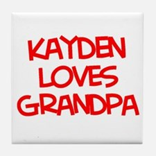 Kayden Loves Grandpa Tile Coaster