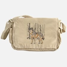 WOLF AND BIRCH TREES Messenger Bag