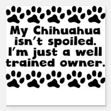"My Chihuahua Isnt Spoiled Square Car Magnet 3"" x 3"