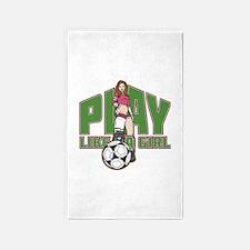 Soccer Play Like a Girl Area Rug