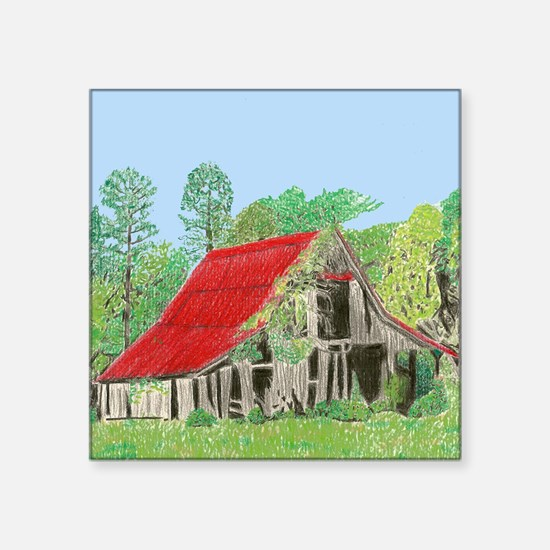 Old Red-Roofed Barn Sticker