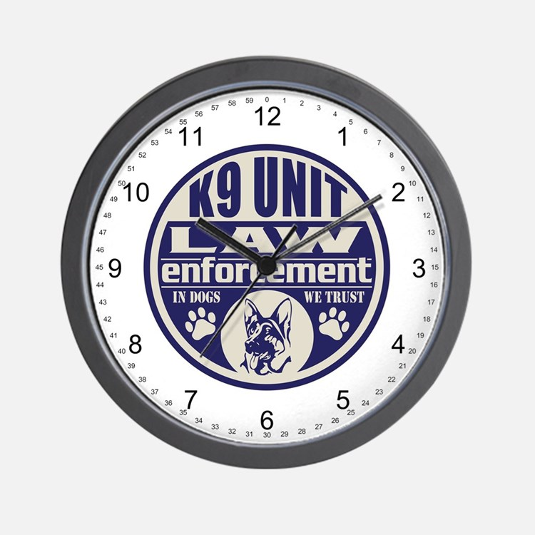 K9 In Dogs We Trust Blue Wall Clock
