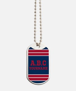 Navy and Crimson Jersey Stripes Personali Dog Tags