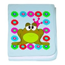 Frog Princess Flowers baby blanket