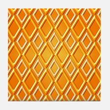 Orange Diamonds Pattern by Xennifer Tile Coaster