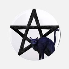 Wiccan Pentacle - Black Cat Button