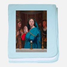 The Virgin Adoring the Host baby blanket