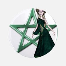 Green Witch Pentacle Design Button