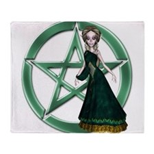 Green Witch Pentacle Design Throw Blanket