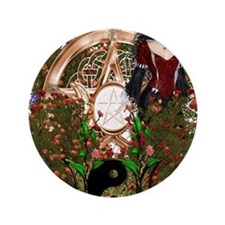 Summer Solstice Wicca Pentacle Button