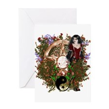 Summer Solstice Wicca Pentacle Greeting Cards