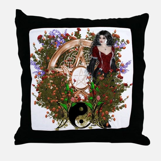 Summer Solstice Wicca Pentacle Throw Pillow