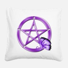 Purple Pentacle - Butterfly 3 Square Canvas Pillow