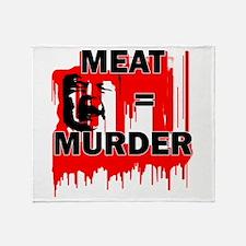 Meat is Murder Vegan Vegetarenian Po Throw Blanket