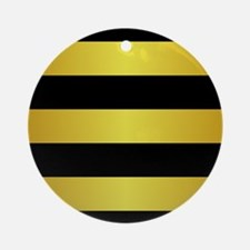BLACK AND GOLD Horizontal Stripes Ornament (Round)