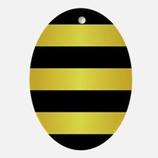 BLACK AND GOLD Horizontal Stripes Ornament (Oval)