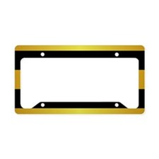 BLACK AND GOLD Horizontal Stripes License Plate Ho